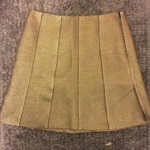 Diane Von Furstenburg Metallic Gold Skirt 4 NEW